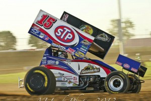 Donny Schatz charged forward at Clay County Fair Speedway. (AJ Lusk Photo)