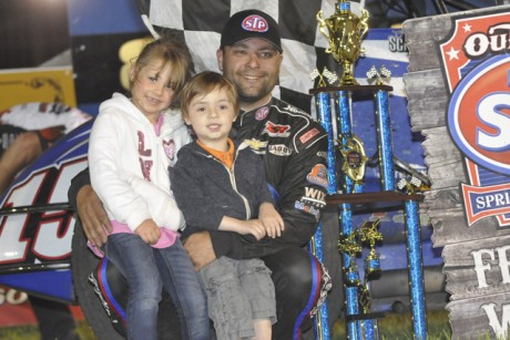 Donny shares victory lane with his niece (Amelia) and nephew (Oliver) at Jackson Speedway (Jerry Gossel).